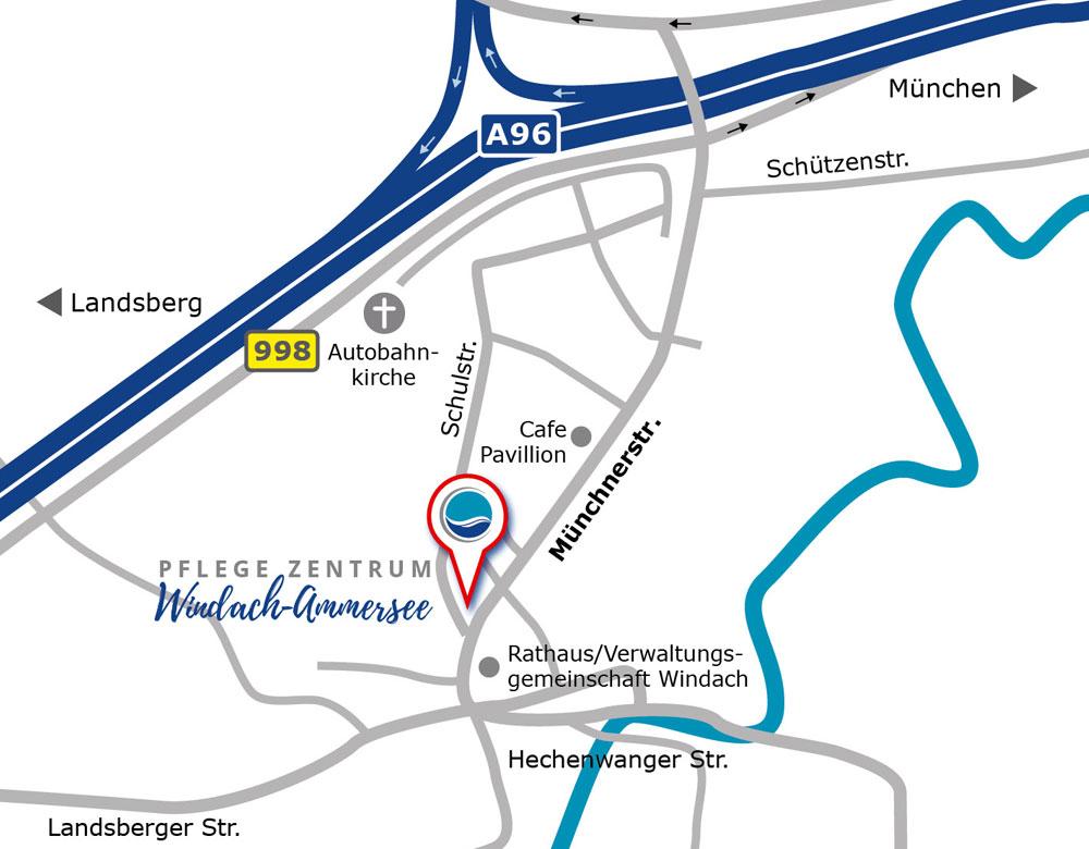 Anfahrt Pflegezentrum Windach-Ammersee GmbH